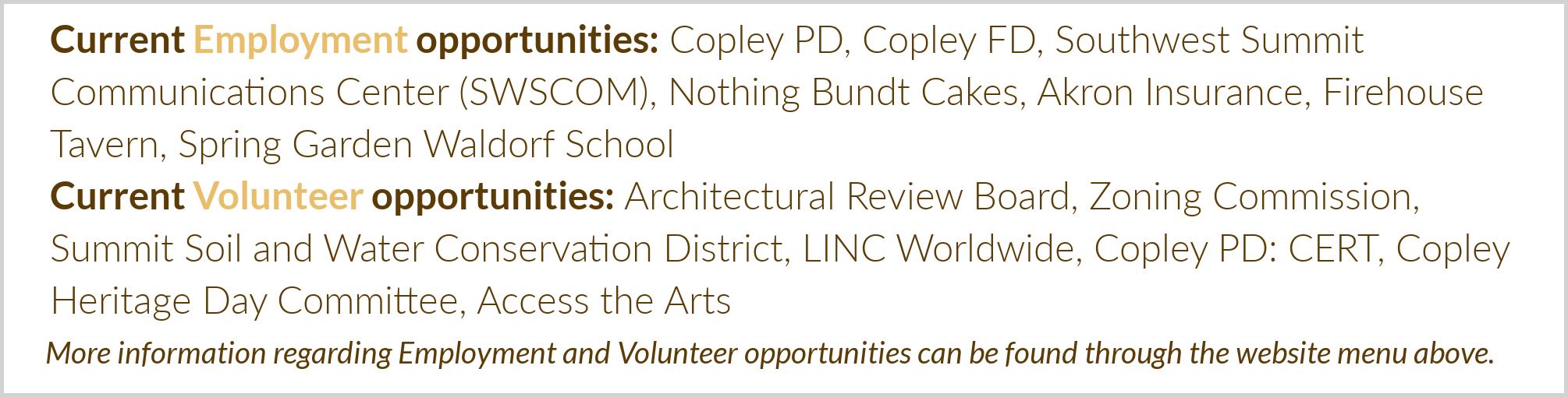 Volunteer and Employment Opportunities