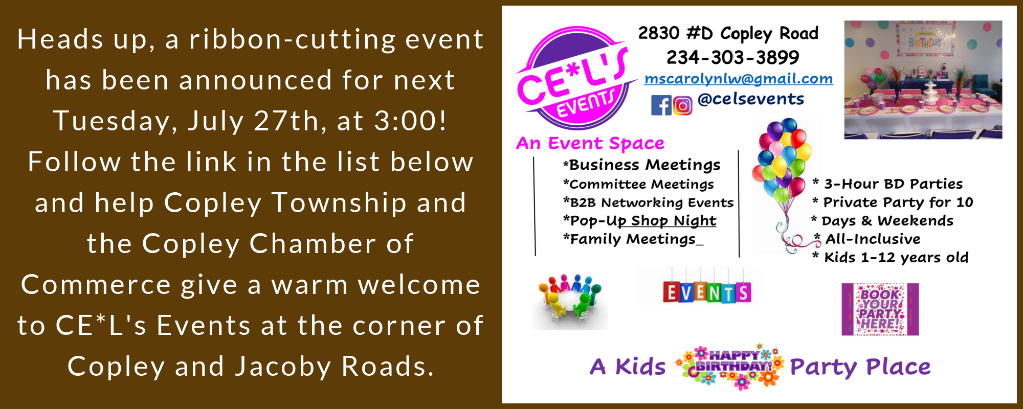 Ribbon Cutting CE*L's Events